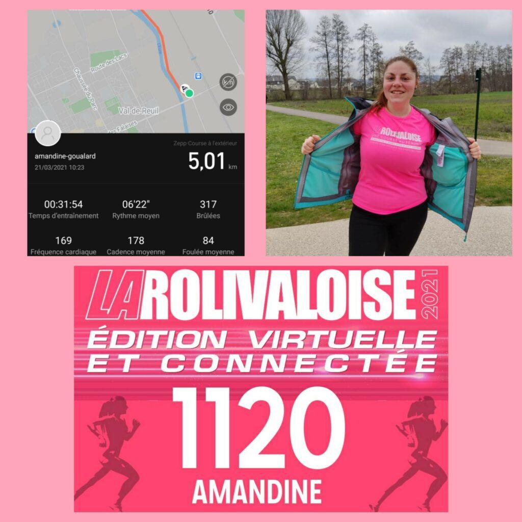 Bonjour, je suis Amandine étudiante Infirmière. Heureuse de vous envoyer ma participation afin de sensibiliser à la lutte contre le cancer. Pour 5km de course j'ai mis 31min54sec